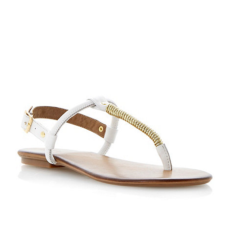 Dune - Neutral gold twisted detail toe post sandal