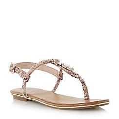 Dune - Neutral jewelled t-bar toe post flat sandal
