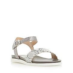 Dune - Grey 'Lela' front strap flat sandal