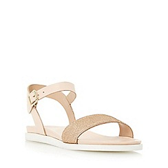 Dune - Natural 'Lela' front strap flat sandal