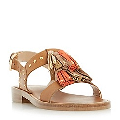 Dune - Tan 'Lunar' tassel and stud detail sandal