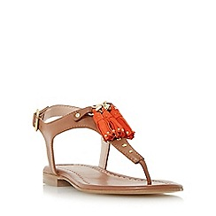 Dune - Tan 'Laviniya' toe post tassel trim flat sandal