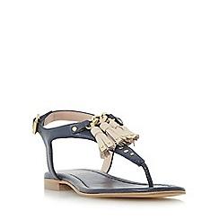 Dune - Navy 'Laviniya' toe post tassel trim flat sandal
