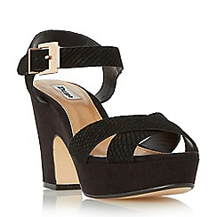 Dune - Black 'Iyla' cross vamp block heel sandals