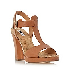 Dune - Tan 'Ismin' cork detail t-bar leather sandal