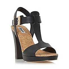 Dune - Black 'Ismin' cork detail t-bar leather sandal