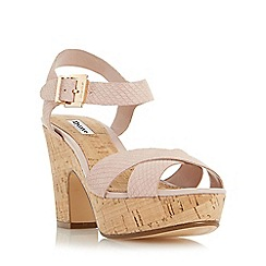 Dune - Light pink 'Iyla' cross vamp block heel sandal