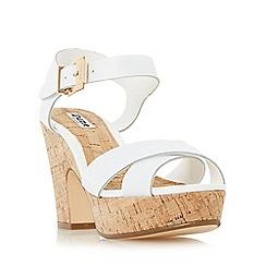 Dune - White 'Iyla' cross vamp block heel sandal