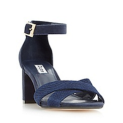 Dune - Navy 'Imelda' cross over strap mid heel sandal