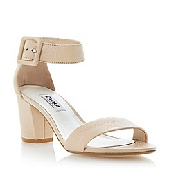Dune - Neutral buckled ankle strap block heel sandal