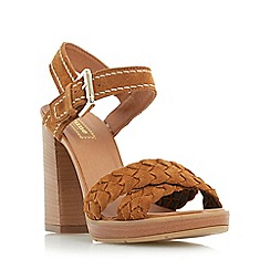 Dune - Tan 'Jolee' plaited cross vamp heeled sandal