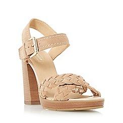 Dune - Natural 'Jolee' plaited cross vamp heeled sandal