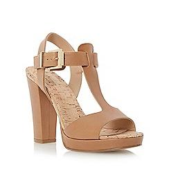 Dune - Brown cork detail t-bar platform leather sandal