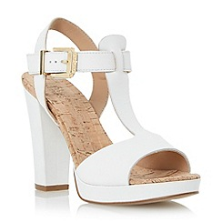 Dune - Neutral cork detail t bar platform leather sandal