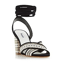 Dune - Black 'Janie' aztec wrap around block heel sandal