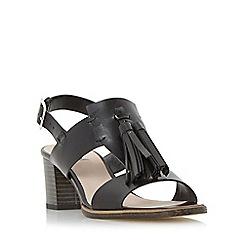 Dune - Black 'Ingrid' oversized tassel trim block heel sandal
