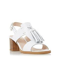 Dune - White 'Ingrid' oversized tassel trim block heel sandal
