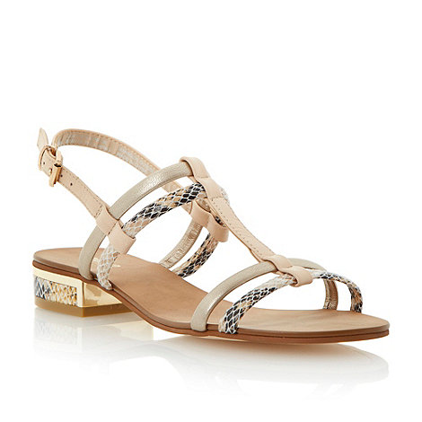 Dune - Blonde low block heel slingback sandal