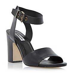 Dune - Black two part block heel leather sandal