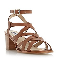 Dune - Brown strappy block heel sandal