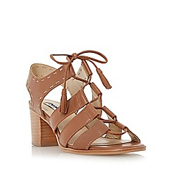 Dune - Brown ghillie lace block heel sandal
