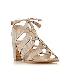 Dune - Gold 'Ivanna' ghillie lace block heel sandal