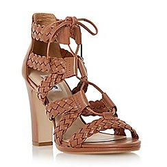 Dune - Brown leather woven strappy high heel sandal