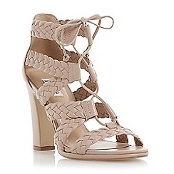Dune - Neutral leather woven strappy high heel sandal