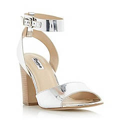 Dune - Silver 'Jamila' two part ankle strap sandal