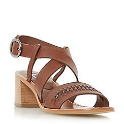 Dune - Brown 'Isobella' chain detail flare block heel sandal