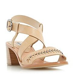 Dune - Natural 'Isobella' chain detail flare block heel sandal