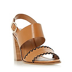 Dune - Tan 'Jinx' whipstitch flared block heel sandal
