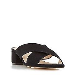 Dune - Black 'Junipar' cross strap block heel mule sandal