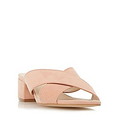 Dune - Natural 'Junipar' cross strap block heel mule sandal