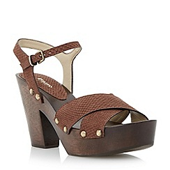 Dune - Brown reptile print cross over strap heel sandal