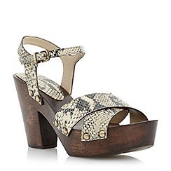Dune - Neutral reptile print cross over strap heel sandal