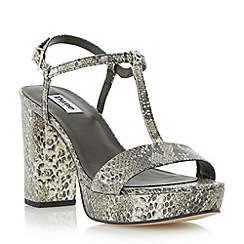 Dune - Grey t-bar block heel sandal
