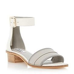 Dune - Grey low block heel ankle strap leather sandal