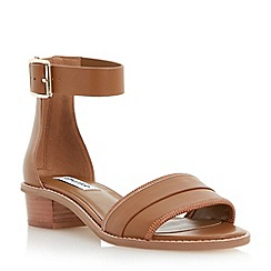 Dune - Brown low block ankle heel sandal
