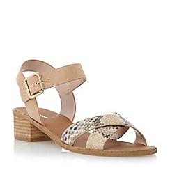 Dune - Brown contrast crossover strap low block heel sandal