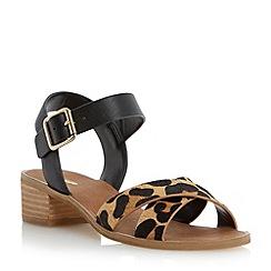 Dune - Black contrast crossover strap low block heel sandal