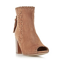 Dune - Tan 'Primrose' woven peep toe block heel boot