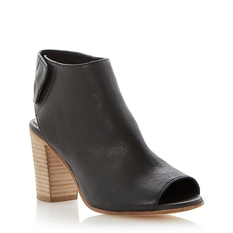 Dune - Black soft leather open toe ankle boot