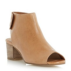 Dune - Brown leather peep toe ankle boot