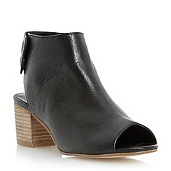 Dune - Black leather peep toe ankle boot