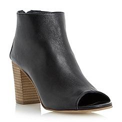 Dune - Black leather peep toe ankle boot