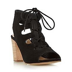 Dune - Black 'Jamima' suede ghillie lace up heeled sandal