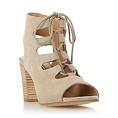 Dune - Natural 'Jamima' suede ghillie lace up heeled sandal