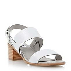 Dune - Metallic stack heel leather sandal