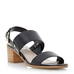 Dune - Black stack heel leather sandal